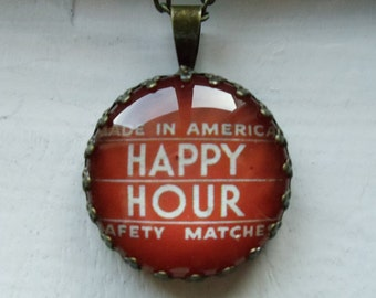 """Repurposed Vintage Advertising Art Pendant Necklace """"Made In America Happy Hour"""""""