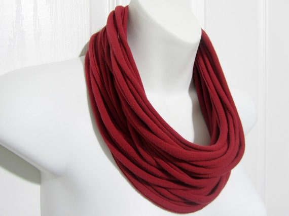Valentine's Day Red Statement Necklace Infinity Scarf Upcycled T-shirt Cowl Free Shipping