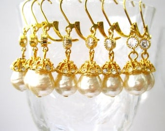 Vintage Pearl Bridesmaids Earrings - 4 Pairs - Earring set  jewelry Vintage Haskell Pearl and rhinestone drop- bridal jewelry