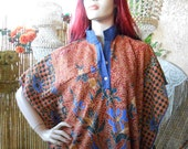 Vintage Indonesian Caftan Dress with button up collar Ethnic BOHO Sz M-L