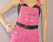 HOT Pink Hand Dyed  Cut Off Overalls/Shortalls -Studded- Sz Small