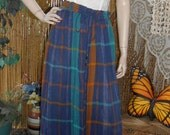 Vintage Midi Skirt Indie Crinkle Cotton  One size fits Most