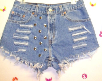 Waist  29 inches  ---Ready to Ship--Vintage LEVIS   Denim Shorts -Distressed-- Studded