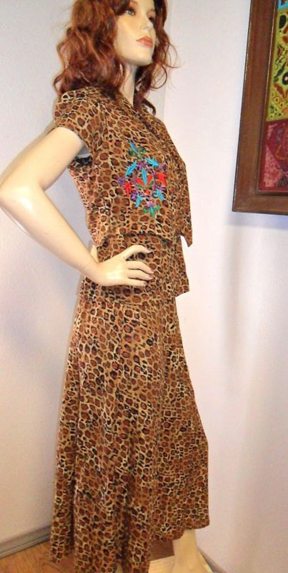 Vintage Carole Little 3 Piece Embroidered Leopard Outfit-Top-Skirt-Vest- Sz 4 --Small