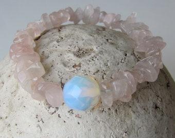 Stretchy Bracelet Pink Quartz Bracelet Opalite Bracelet Women Jewelry Rose Quartz Bracelet Hypoallergenic Bridesmaid Bracelet Pink Bracelet