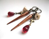 Vampire Slayer Stake Earrings with Garlic and Crosses.  Buffy. Vampire Jewelry.  Mister Pointy