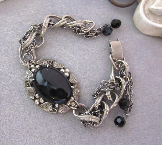 Repurposed Black and Silver Bracelet Chunky Chain Bracelet Assemblage Handmade Jewelry OOAK by JryenDesigns
