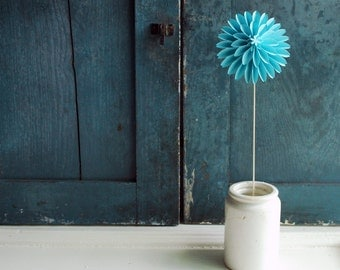 Paper Flower, Sky Blue Paper Dahlia, Spring Flowers, Easter Flower, Wedding Ornament, Origami Flower on a stem