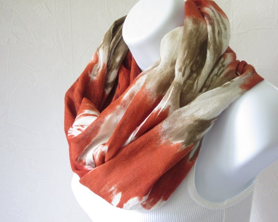 Cotton Gauze Infinity Autumn Scarf Watercolor Rust Orange Muddy Brown Cream Loop Scarf Handmade Fall Fashion for Men and Women