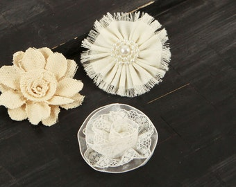 Fabric Flowers -  Tessitura -  562762-  mix of  cream  natural & white  fabric  flowers with dainty pearl embellished centers