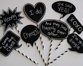 8 Chalkboard Photo Booth Props Speech Bubbles Chalk Board message signs with messages & straw sticks Party Photo Decorations wedding shower