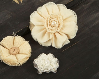Natural ivory Fabric Flowers -  AU Naturale 562694  -  White and  cream Ivory linen and lace fabric flowers - vintage style