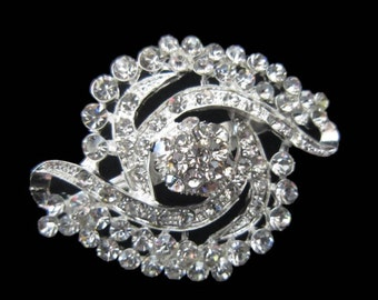 "2"" Silver metal Rhinestone crystal brooch Bridal Hair Comb Shoe Clip Pin -  bridal wedding embellishment accent  - vintage Annabel  SB109"