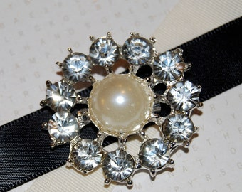 "Rhinestone Pearl brooch - 1.5"" silver crystal pearl shoe clip pin -  bridal wedding cake bouquet embellishment  - vintage Annabel SB02"