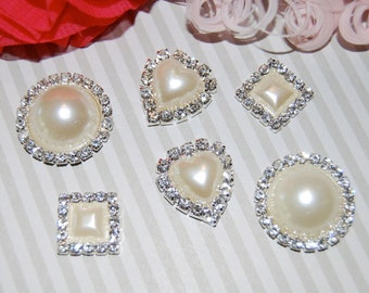 pearl rhinestone embellishments flower centers buttons accessory flat back round 22mm - (6 pcs) square heart circle  Pearl crystal accent