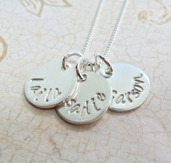 Custom Name Necklace / Personalized Jewelry / Hand Stamped Mommy Jewelry / Mommy Necklace / Sterling Silver Discs / Handwriting Font