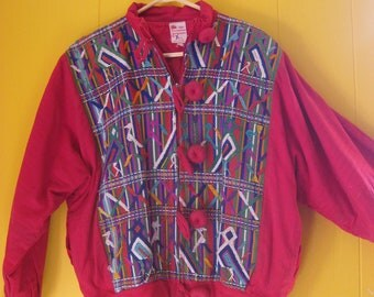 Guatemalan Coat/Red Ethnic Jacket/Puffy 80s Coat/Embroidered Guatemalan Coat/Boho Fashion/Large Buttons/Art to WearVintage Coat