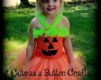 Adorable infant toddler pumpkin tutu costume with hair bow 2T 3T