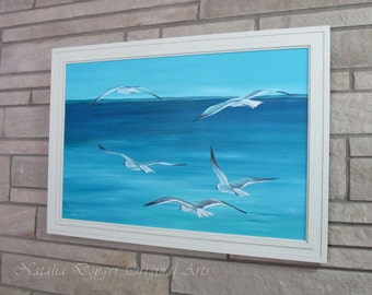 "Ocean, LARGE ORIGINAL Canvas Painting 36""x24"", Sea Guls, Birds, Waterscape, Blue, White, Fresh, Summer, Breeze, Blue Sky"