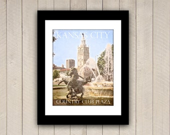 Kansas City Travel Print Country Club Plaza Vintage Style Poster in Wonderfully Faded Blue, Cream, and Green