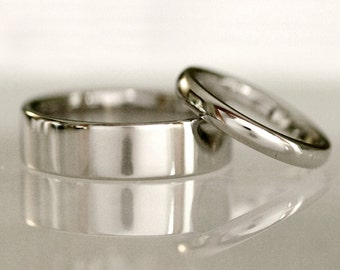 Traditional wedding band set, flat or half round, comfort fit, his and hers - Platinum