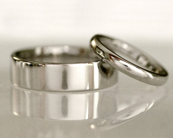 Traditional Wedding Band Set Flat Or Half Round Comfort Fit