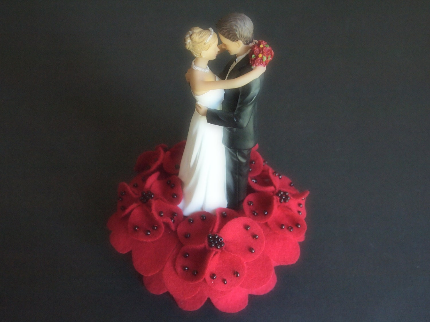 Wedding Cake Topper Bride and Groom Red Black by