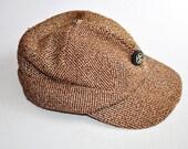 1950's Boy Scout Winter Hat Wool Tweed w/ Ear Flap Cap Size 7 Medium. Eveteam