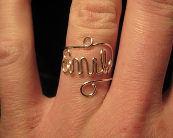 Wire Wrapped SMILE Spelled Adjustable Ring MADE to ORDER