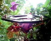 RESERVED...NFS...DAD Garden Gift, Garden Art, Butterfly Feeder, stained glass, copper art, Bird Feeder, purple