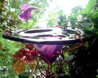 Garden Gift, Garden Art, Butterfly Feeder, stained glass, copper art, Bird Feeder, purple