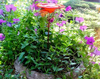 CONTAINER GARDENING, Butterfly Feeder, stained glass,  Brilliant Red Orange, copper, Patio Gardening, Retirement Gift