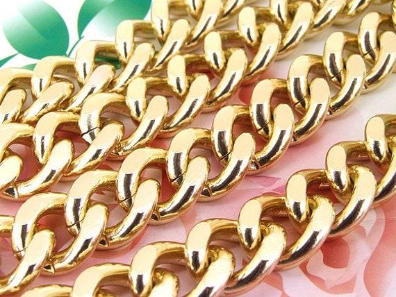 "Long Shiny Loop Cut Twist 19mm-22mm Plated Light Gold Aluminum  Metal Chain 5mm---38"""