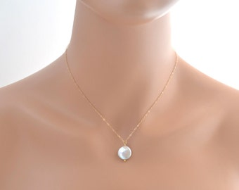 Wedding Jewelry - Wedding Necklace - Fresh Water Coin Pearl Necklace - Bridesmaid Gift - Pearl Necklace