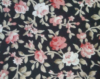 Small roses, black, 1/2 yard, pure cotton fabric