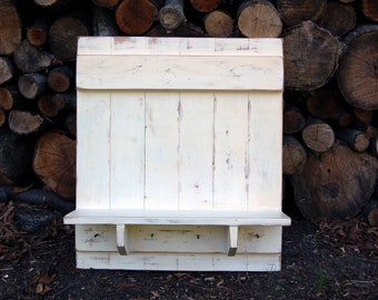 Rustic Shabby Chic White Wood Shelf