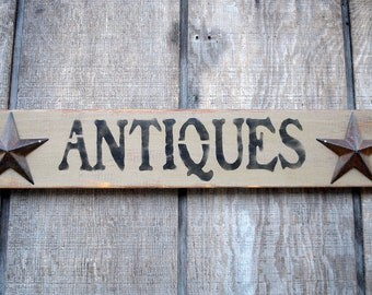 Antiques Sign with Metal Stars