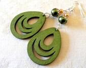 LAST PAIR Green grass - valentine earrings