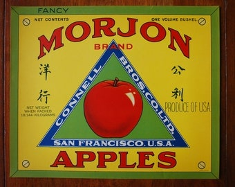 Vintage Crate Art Lithograph - MORJON BRAND - Apples Shipping label - 1930's- Industrial Art