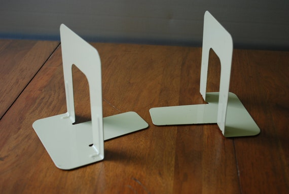 Vintage Pair of Tan - Mid Century - Industrial - Metal Bookends