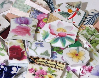 FREE SHIPPING 111 Mixed Lot Grab Bag w Many Different Styles of Mosaic Tiles Tesserae Handmade Cut Nipped Plates Dishes Flowered Mosaics