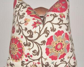 Designer Pillow, Decorative Pillow, Throw Pillow, Toss Pillow, Schumacher, Fergana Embroidery Print, Teak, Home Furnishing, Pillow Case