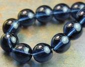 Czech Glass 8mm Translucent  Round Montana Blue Druk Beads -25 Czech Beads
