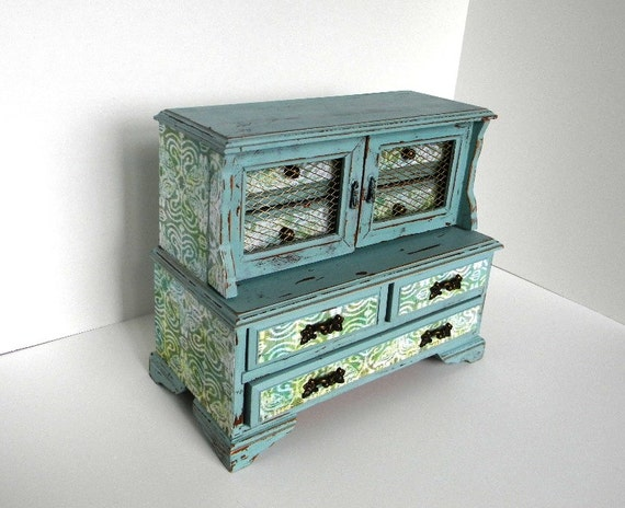 Hand Painted Distressed Wooden Jewelry Music Box - Cottage Chic Decoupaged Jewelry Armoire - Upcycled Vintage Jewelry Box