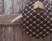 Baby Bib for Boy - Toddler - Reversible - Black with Orange Skulls and Pumpkin-Orange Polka-dot
