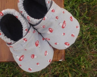 Baby Shoes for Girl or Boy - Grey/Gray with Red Mushrooms - Made to Order Sizes 0-3, 3-6, 6-12, 12-18, 18-24 months 2T, 3T, 4T