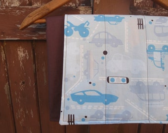 Changing Pad for Baby/Toddler Boy - Brown and Blue Automobile Print - Roll Up Pad - Washable