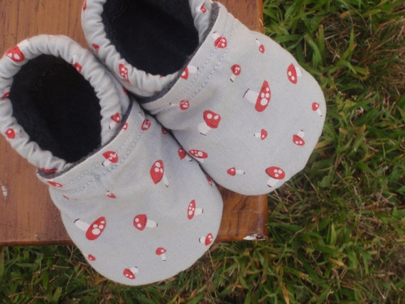 Baby Shoes for Girl or Boy - Grey/Gray with Red Mushrooms - Made to Order Sizes 0-3, 3-6, 6-12, 12-18, 18-24 months
