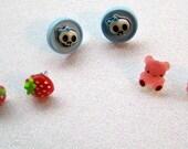 Strawberry earrings, Skull Earrings, Teddy Bear Earrings