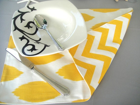 Cotton Placemats, Reversible Ikat/Chevron In Yellow -SETS OF 4 or 6